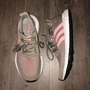 Adidas Army Green and Pink Tennis Shoes